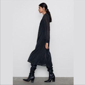 Zara Smocked Mesh Glitter Dress